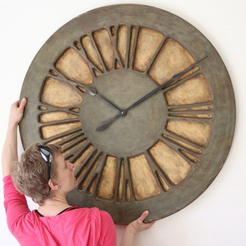 Centrepiece Wall Clock - Classic Shabby Chic Oversized Wall Clock. 100 cm diameter & 12 kg weight