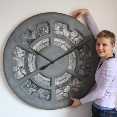Große handbemalte Mosaik-Wanduhr