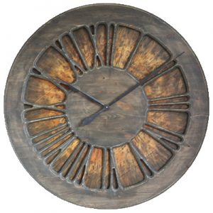 Rustic Wall Clock with Roman Numerals. Pine Wood, 100 cm diameter, Handmade & Hand Painted.
