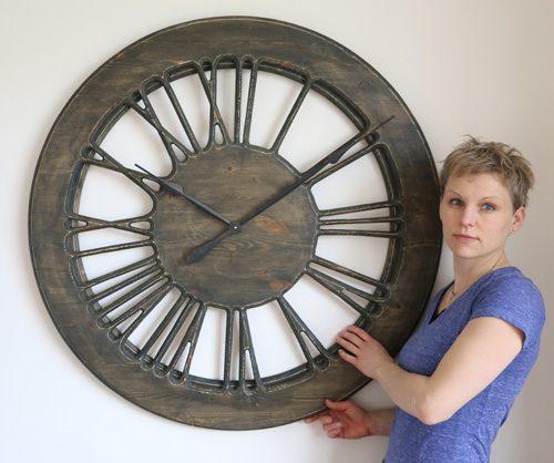 large skeleton clock from wood