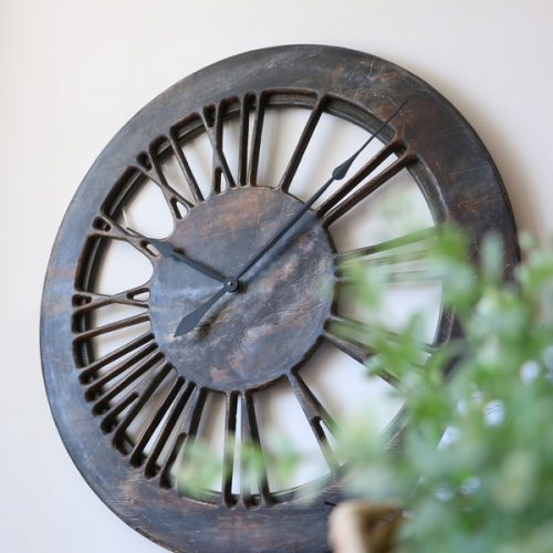 Extra Large Contemporary Clock. Handmade Roman Numerals Skeleton Wood 100 cm