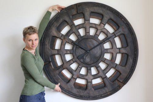 Giant Handmade Wooden Statement Wall Clock. 120 cm diameter.
