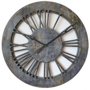 Schäbig-schicke, graue, extra große, 100 cm, handgefertigte Wanduhr