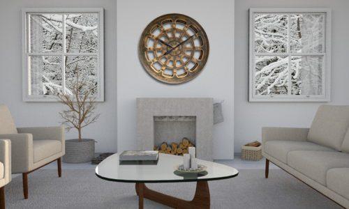 Duży nowoczesny zegar ścienny wykonany własnoręcznie z drewna sosnowego