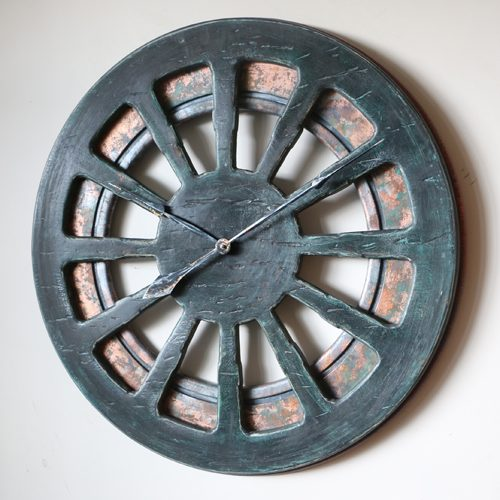 decorative clock for cottage with copper background