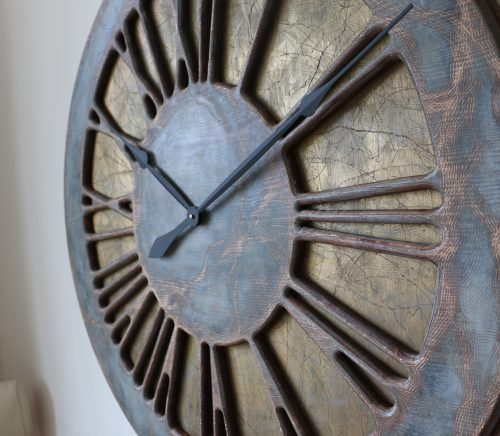 "40"" Very Large Rustic Grey and Gold Roman Numeral Wall Clock Handmade from pine wood and hand painted"