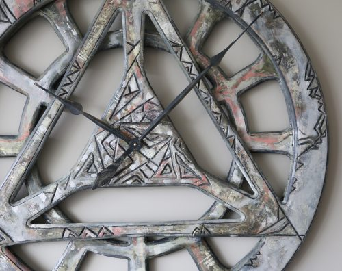geometric wall clock - close up
