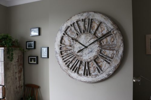 Massive White Handpainted Wall Clock with Roman Numerals - Right side