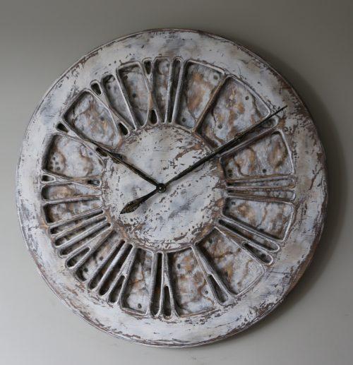 white unique shabby chic clock