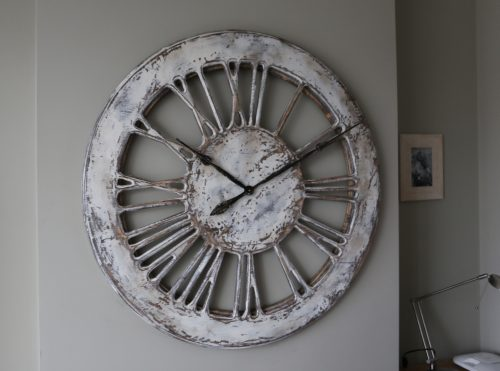 Unique Large Rustic White Skeleton Wall Clock - Left side