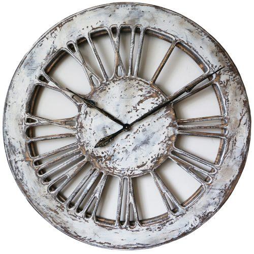 white skeleton wall clock