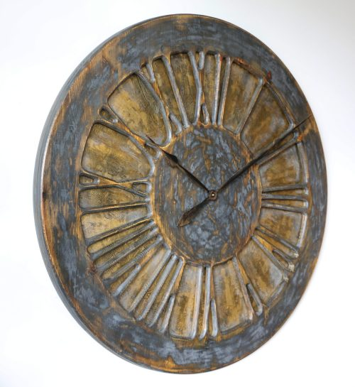 Decorative Wall Clock with golden background and roman numerals
