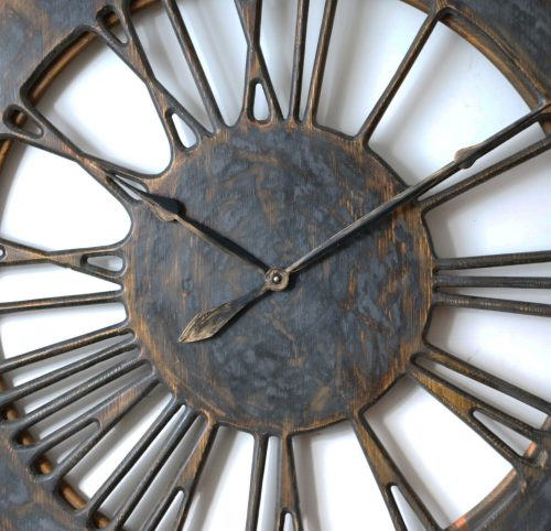 extra large skeleton wall clock - graphite