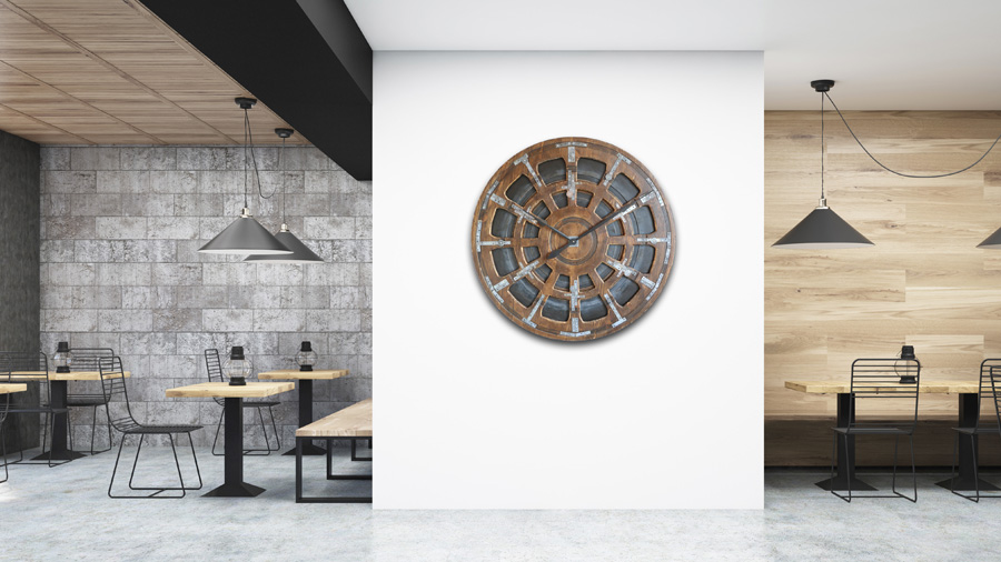 Large Wooden Handmade Industrial Timepiece interiors