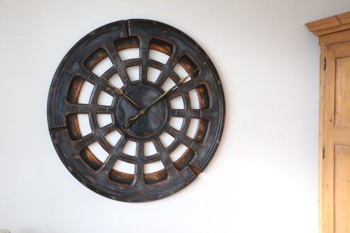 Large Grey Wall Clock from Wood